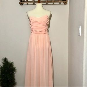 Dresses & Skirts - Peach Ruched Long Sheer Flowy Dress